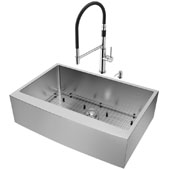 All-In-One 33'' Bedford Stainless Steel Farmhouse Apron Kitchen Sink Set with Norwood Faucet in Stainless Steel, Grid, Strainer and Soap Dispenser