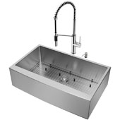 All-In-One 36'' Bedford Stainless Steel Farmhouse Apron Kitchen Sink Set with Livingston Faucet in Stainless Steel, Grid, Strainer and Soap Dispenser