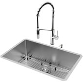 All-in-One 30'' Mercer Stainless Steel Undermount Kitchen Sink Set with Livingston Faucet in Stainless Steel, Grid, Strainer and Soap Dispenser