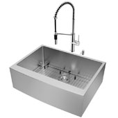 All-In-One 30'' Bedford Stainless Steel Farmhouse Apron Kitchen Sink Set with Livingston Faucet in Chrome, Grid, Strainer and Soap Dispenser