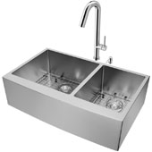 All-In-One 36'' Bingham Stainless Steel Double Bowl Farmhouse Apron Kitchen Sink Set with Oakhurst Faucet in Chrome, Grids, Strainers and Soap Dispenser