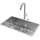 All-In-One 32'' Mercer Stainless Steel Undermount Kitchen Sink Set with Oakhurst Faucet in Chrome, Grid, Strainer and Soap Dispenser