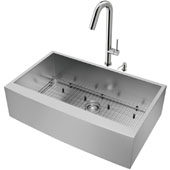 All-In-One 36'' Camden Stainless Steel Farmhouse Apron Kitchen Sink Set with Oakhurst Faucet in Stainless Steel, Grid, Strainer and Soap Dispenser