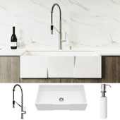 All-In-One 36'' Square Front Matte Stone Farmhouse Apron Kitchen Sink Set with Livingston Faucet in Stainless Steel, Strainer and Soap Dispenser