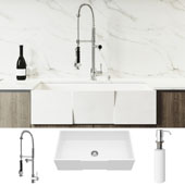 All-In-One 36'' Square Front Matte Stone Farmhouse Apron Kitchen Sink Set with Zurich Faucet in Chrome, Strainer and Soap Dispenser