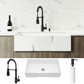 All-In-One 36'' Square Front Matte Stone Farmhouse Apron Kitchen Sink Set with Brant Faucet in Matte Black, Strainer and Soap Dispenser
