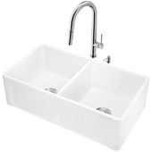 All-In-One 33'' Casement Front Matte Stone Double Bowl Farmhouse Apron Kitchen Sink Set with Greenwich Faucet in Stainless Steel, Strainers and Soap Dispenser