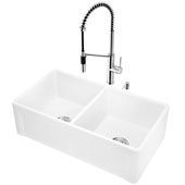 All-In-One 33'' Casement Front Matte Stone Double Bowl Farmhouse Apron Kitchen Sink Set with Livingston Faucet in Chrome, Strainers and Soap Dispenser