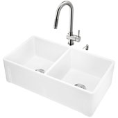 All-In-One 33'' Casement Front Matte Stone Double Bowl Farmhouse Apron Kitchen Sink Set with Gramercy Faucet in Stainless Steel, Strainers and Soap Dispenser