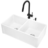 All-In-One 33'' Casement Front Matte Stone Double Bowl Farmhouse Apron Kitchen Sink Set with Gramercy Faucet in Matte Black, Strainers and Soap Dispenser
