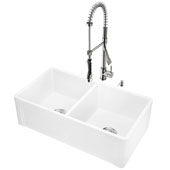All-In-One 33'' Casement Front Matte Stone Double Bowl Farmhouse Apron Kitchen Sink Set with Zurich Faucet in Stainless Steel, Strainers and Soap Dispenser