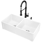 All-In-One 36'' Casement Front Matte Stone Double Bowl Farmhouse Apron Kitchen Sink Set with Edison Faucet in Matte Black, Strainers and Soap Dispenser
