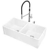 All-In-One 36'' Casement Front Matte Stone Double Bowl Farmhouse Apron Kitchen Sink Set with Norwood Faucet in Stainless Steel, Strainers and Soap Dispenser