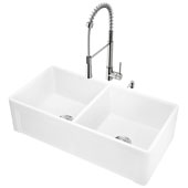 All-In-One 36'' Casement Front Matte Stone Double Bowl Farmhouse Apron Kitchen Sink Set with Laurelton Faucet in Stainless Steel, Strainers and Soap Dispenser
