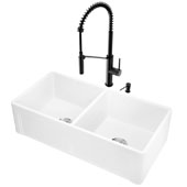 All-In-One 36'' Casement Front Matte Stone Double Bowl Farmhouse Apron Kitchen Sink Set with Livingston Faucet in Matte Black, Strainers and Soap Dispenser