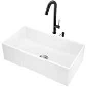 "30""W Matte Stone Square Apron Front White Farmhouse Kitchen Sink Set With 'Oakhurst' Led Pull-Down Faucet And Soap Dispenser In Matte Black, 30''W X 18''D X 9-5/8''H, ADA Compliant"