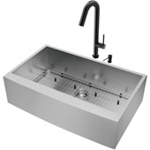 36''W Camden Stainless Steel Farmhouse Kitchen Sink Set With 'Oakhurst' Led Pull-Down Faucet And Soap Dispenser In Matte Black, 36''W X 22-1/4''D X 10''H, ADA Compliant