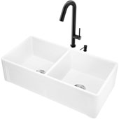 36''W Casement Apron Front Matte Stone Double Bowl Farmhouse Kitchen Sink Set With 'Oakhurst' Led Pull-Down Faucet And Soap Dispenser In Matte Black, 36''W X 18''D X 9-5/8''H, ADA Compliant