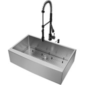 36''W Bedford Farmhouse Apron Front Kitchen Sink Set And Zurich Pull-Down Faucet And Soap Dispenser Set In Matte Black, 36''W X 22-1/4''D X 9''H, ADA Compliant