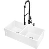 36''W Double-Bowl Matte Stone™ Casement Apron Front Reversible Farmhouse Kitchen Sink Set With Zurich Pull-Down Kitchen Faucet And Soap Dispenser Set In Matte Black, 36''W X 18''D X 9-5/8''H, ADA Compliant