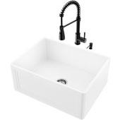24''W Crown Apron Front Matte Stone™ Farmhouse Sink Set And Brant Pull-Down Faucet And Soap Dispenser Set In Matte Black, 24''W X 18''D X 9-5/8''H, ADA Compliant