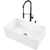 30''W Matte Stone™ Crown Reversible Apron Front Farmhouse Kitchen Sink Set And Livingston Magnetic Kitchen Faucet And Soap Dispenser Set In Matte Black, 30''W X 18''D X 9-5/8''H, ADA Compliant