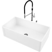 33''W Single Bowl Matte Stone™ Crown Reversible Apron Front Farmhouse Kitchen Sink Set And Norwood Magnetic Kitchen Faucet And Soap Dispenser Set In Chrome, 33''W X 18''D X 9-5/8''H, ADA Compliant