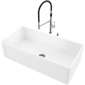 36''W Single Bowl Matte Stone™ Crown Reversible Apron Front Farmhouse Kitchen Sink Set And Norwood Magnetic Spray Kitchen Faucet And Soap Dispenser Set In Stainless Steel, 36''W X 18''D X 9-5/8''H, ADA Compliant