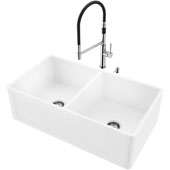 33''W Double Bowl Matte Stone™ Crown Reversible Apron Front Farmhouse Kitchen Sink Set And Norwood Magnetic Spray Kitchen Faucet And Soap Dispenser Set In Stainless Steel, 33''W X 18''D X 9-5/8''H, ADA Compliant