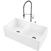 33''W Double-Bowl Matte Stone™ Crown Reversible Apron Front Farmhouse Kitchen Sink Set And Livingston Magnetic Pull-Down Spray Kitchen Faucet And Soap Dispenser Set In Stainless Steel, 33''W X 18''D X 9-5/8''H, ADA Compliant