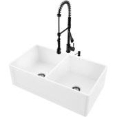 33''W Double-Bowl Matte Stone™ Crown Reversible Apron Front Farmhouse Kitchen Sink Set And Zurich Pull-Down Spray Kitchen Faucet And Soap Dispenser Set In Matte Black, 33''W X 18''D X 9-5/8''H, ADA Compliant