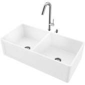 36''W Double Bowl Matte Stone™ Crown Reversible Apron Front Farmhouse Kitchen Sink Set And Oakhurst Led Pull-Down Kitchen Faucet And Soap Dispenser Set In Chrome, 36''W X 18''D X 9-5/8''H, ADA Compliant