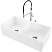 36''W Double-Bowl Matte Stone™ Crown Reversible Apron Front Farmhouse Kitchen Sink Set And Norwood Magnetic Pull-Down Spray Kitchen Faucet And Soap Dispenser Set In Stainless Steel, 36''W X 18''D X 9-5/8''H, ADA Compliant
