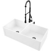 36''W Double-Bowl Matte Stone™ Crown Reversible Apron Front Farmhouse Kitchen Sink Set And Zurich Pull-Down Spray Kitchen Faucet And Soap Dispenser Set In Matte Black, 36''W X 18''D X 9-5/8''H, ADA Compliant