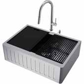 All-In-One 30'' Oxford Single Bowl Slotted Apron Front Stainless Steel Farmhouse Kitchen Sink Set with Accessories and Greenwich Faucet in Stainless Steel