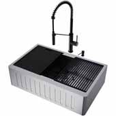 All-In-One 33'' Oxford Single Bowl Slotted Apron Front Stainless Steel Farmhouse Kitchen Sink Set with Accessories and Livingston Faucet in Matte Black