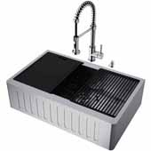All-In-One 33'' Oxford Single Bowl Slotted Apron Front Stainless Steel Farmhouse Kitchen Sink Set with Accessories and Edison Faucet in Stainless Steel