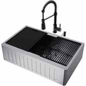 All-In-One 33'' Oxford Single Bowl Slotted Apron Front Stainless Steel Farmhouse Kitchen Sink Set with Accessories and Brant Faucet in Matte Black