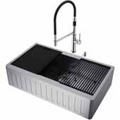 All-In-One 36'' Oxford Single Bowl Slotted Apron Front Stainless Steel Farmhouse Kitchen Sink Set with Accessories and Norwood Faucet in Stainless Steel