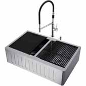 All-In-One 33'' Oxford Double Bowl Slotted Apron Front Stainless Steel Farmhouse Kitchen Sink Set with Norwood Faucet in Stainless Steel, Cutting Board, Drying Rack, Strainers, Drain Cover, Bottom Grids and Soap Dispenser