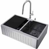 All-In-One 33'' Oxford Double Bowl Slotted Apron Front Stainless Steel Farmhouse Kitchen Sink Set with Greenwich Faucet in Stainless Steel, Cutting Board, Drying Rack, Strainers, Drain Cover, Bottom Grids and Soap Dispenser