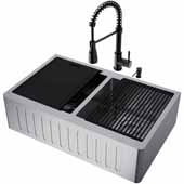 All-In-One 33'' Oxford Double Bowl Slotted Apron Front Stainless Steel Farmhouse Kitchen Sink Set with Brant Faucet in Matte Black, Cutting Board, Drying Rack, Strainers, Drain Cover, Bottom Grids and Soap Dispenser