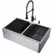 All-In-One 33'' Oxford Double Bowl Slotted Apron Front Stainless Steel Farmhouse Kitchen Sink Set with Edison Faucet in Stainless Steel/Matte Black, Cutting Board, Drying Rack, Strainers, Drain Cover, Bottom Grids and Soap Dispenser