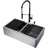 All-In-One 36'' Oxford Double Bowl Slotted Apron Front Stainless Steel Farmhouse Kitchen Sink Set with Livingston Faucet in Matte Black, Cutting Board, Drying Rack, Strainers, Drain Cover, Bottom Grids and Soap Dispenser