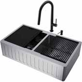 All-In-One 36'' Oxford Double Bowl Slotted Apron Front Stainless Steel Farmhouse Kitchen Sink Set with Greenwich Faucet in Matte Black, Cutting Board, Drying Rack, Strainers, Drain Cover, Bottom Grids and Soap Dispenser