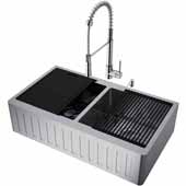 All-In-One 36'' Oxford Double Bowl Slotted Apron Front Stainless Steel Farmhouse Kitchen Sink Set with Laurelton Faucet in Stainless Steel, Cutting Board, Drying Rack, Strainers, Drain Cover, Bottom Grids and Soap Dispenser