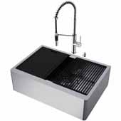 VIGO All-In-One 30'' Oxford Single Bowl Apron Front Stainless Steel Farmhouse Kitchen Sink Set with Accessories and Livingston Faucet in Stainless Steel
