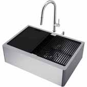 VIGO All-In-One 30'' Oxford Single Bowl Apron Front Stainless Steel Farmhouse Kitchen Sink Set with Accessories and Greenwich Faucet in Chrome