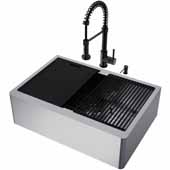 VIGO All-In-One 30'' Oxford Single Bowl Apron Front Stainless Steel Farmhouse Kitchen Sink Set with Accessories and Edison Faucet in Matte Black