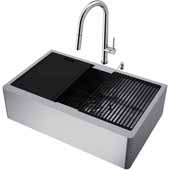 VIGO All-In-One 33'' Oxford Single Bowl Apron Front Stainless Steel Farmhouse Kitchen Sink Set with Accessories and Greenwich Faucet in Stainless Steel
